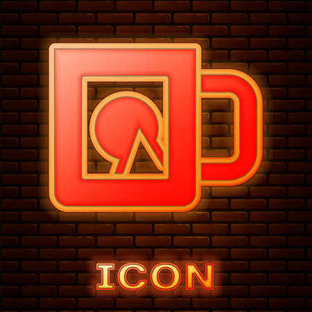 Glowing neon Coffee cup icon isolated on brick wall background. Take away print. Vector