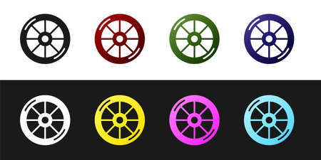 Set Bicycle wheel icon isolated on black and white background. Bike race. Extreme sport. Sport equipment. Vector Vetores