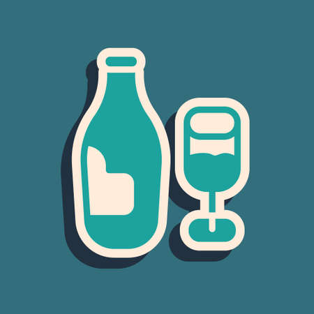 Green Wine bottle with glass icon isolated on green background. Long shadow style. Vector Vetores