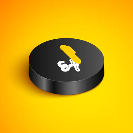 Isometric line Signature line icon isolated on yellow background. Pen and undersign, underwrite, ratify symbol. Black circle button. Vector