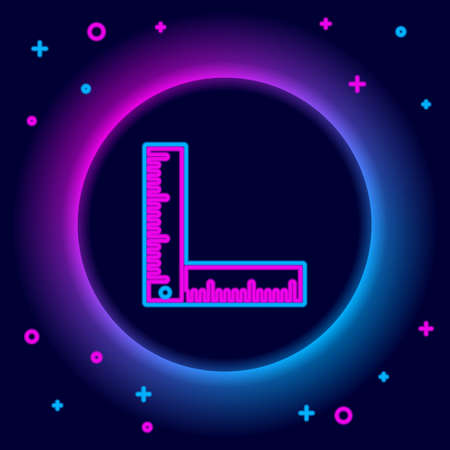 Glowing neon line Folding ruler icon isolated on black background. Colorful outline concept. Vector