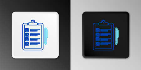 Line Verification of delivery list clipboard and pen icon isolated on grey background. Colorful outline concept. Vector