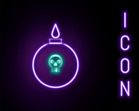 Glowing neon line Bomb ready to explode icon isolated on black background. Colorful outline concept. Vector