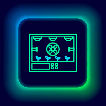 Glowing neon line Smart farming technology - farm automation system icon isolated on black background. Colorful outline concept. Vector