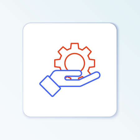 Line Hand settings gear icon isolated on white background. Adjusting, service, maintenance, repair, fixing. Colorful outline concept. Vector