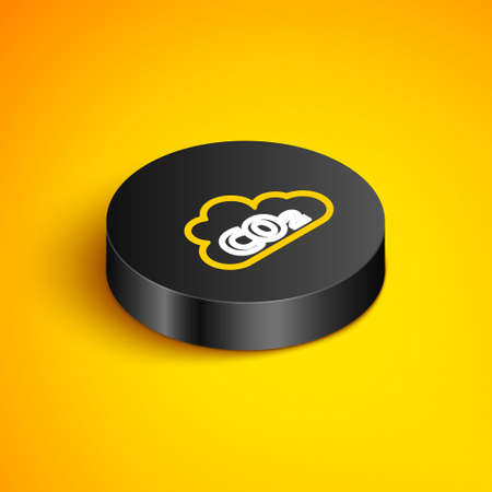 Isometric line CO2 emissions in cloud icon isolated on yellow background. Carbon dioxide formula, smoke pollution concept, environment concept. Black circle button. Vector