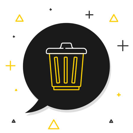 Line Trash can icon isolated on white background. Garbage bin sign. Recycle basket icon. Office trash icon. Colorful outline concept. Vector