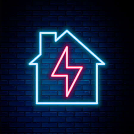 Glowing neon line House and lightning icon isolated on brick wall background. Home energy. Colorful outline concept. Vector
