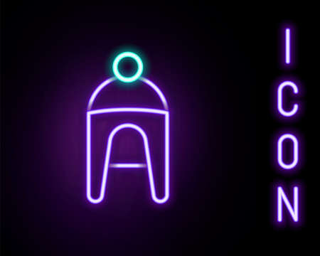 Glowing neon line Winter hat icon isolated on black background. Colorful outline concept. Vector