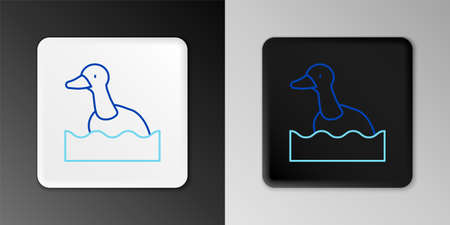Line Flying duck icon isolated on grey background. Colorful outline concept. Vector Stock Illustratie