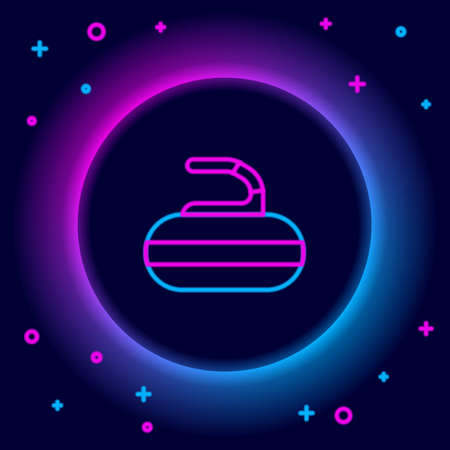 Glowing neon line Stone for curling sport game icon isolated on black background. Sport equipment. Colorful outline concept. Vector Stock Illustratie