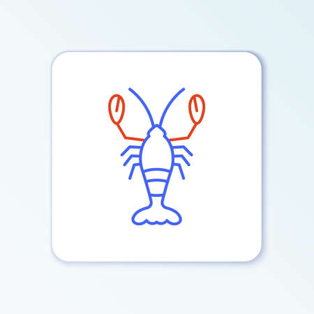Line Lobster icon isolated on white background. Colorful outline concept. Vector Stock Illustratie