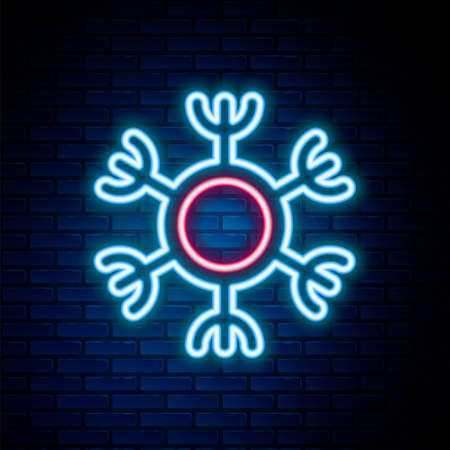 Glowing neon line Snowflake icon isolated on brick wall background. Colorful outline concept. Vector Stock Illustratie