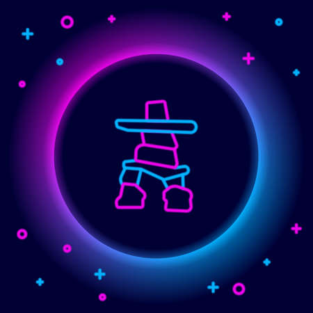 Glowing neon line Inukshuk icon isolated on black background. Colorful outline concept. Vector