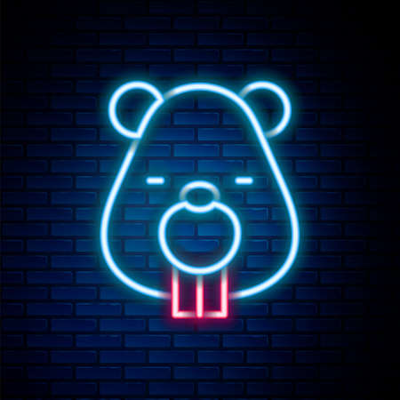Glowing neon line Beaver animal icon isolated on brick wall background. Colorful outline concept. Vector Stock Illustratie
