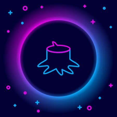 Glowing neon line Tree stump icon isolated on black background. Colorful outline concept. Vector
