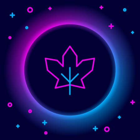 Glowing neon line Canadian maple leaf icon isolated on black background. Canada symbol maple leaf. Colorful outline concept. Vector
