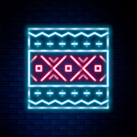 Glowing neon line Ukrainian ethnic pattern for embroidery icon isolated on brick wall background. Traditional folk art knitted embroidery pattern. Colorful outline concept. Vector
