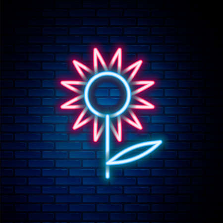 Glowing neon line Sunflower icon isolated on brick wall background. Colorful outline concept. Vector