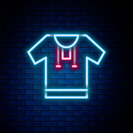 Glowing neon line Embroidered shirt icon isolated on brick wall background. National ukrainian clothing. Colorful outline concept. Vector. Stock Illustratie