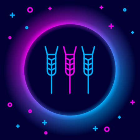 Glowing neon line Cereals set with rice, wheat, corn, oats, rye, barley icon isolated on black background. Ears of wheat bread symbols. Colorful outline concept. Vector Stock Illustratie