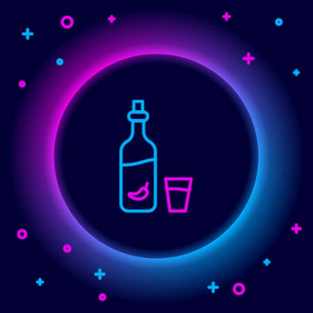 Glowing neon line Vodka with pepper and glass icon isolated on black background. Ukrainian national alcohol. Colorful outline concept. Vector Stock Illustratie