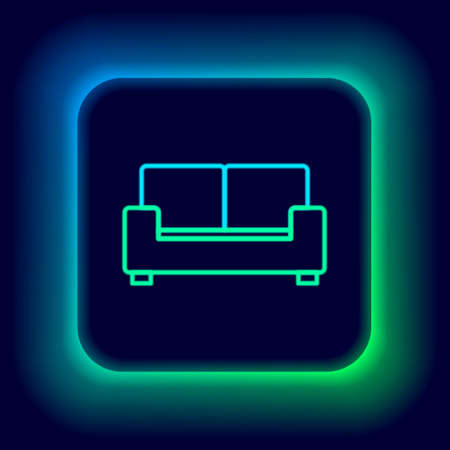 Glowing neon line Sofa icon isolated on black background. Colorful outline concept. Vector