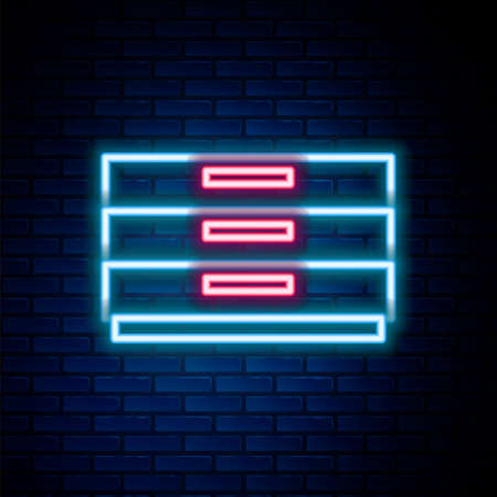 Glowing neon line Chest of drawers icon isolated on brick wall background. Colorful outline concept. Vector