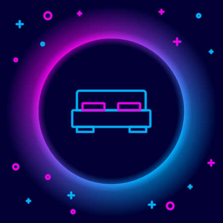 Glowing neon line Big bed for two or one person icon isolated on black background. Colorful outline concept. Vector Stock Illustratie