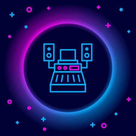 Glowing neon line Music sound recording studio control room with professional equipment icon isolated on black background. Colorful outline concept. Vector Stockfoto - 168194206