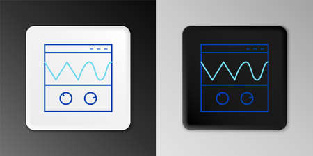 Line Oscilloscope measurement signal wave icon isolated on grey background. Colorful outline concept. Vector