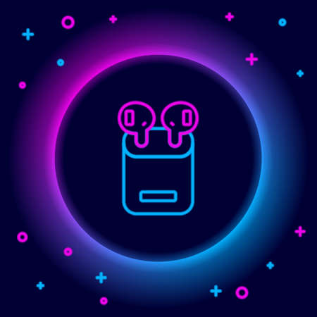 Glowing neon line Earphones in box icon isolated on black background. Holder wireless in case earphones garniture electronic gadget. Colorful outline concept. Vector