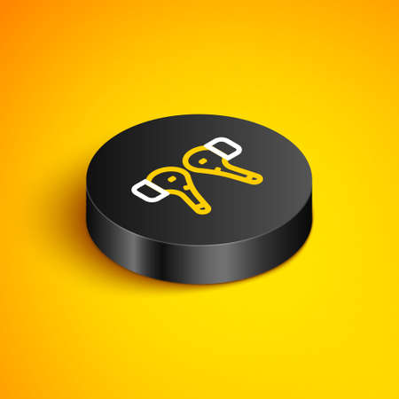 Isometric line Earphones icon icon isolated on yellow background. Holder wireless in case earphones garniture electronic gadget. Black circle button. Vector