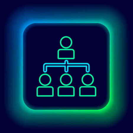 Glowing neon line Business hierarchy organogram chart infographics icon isolated on black background. Corporate organizational structure graphic elements. Colorful outline concept. Vector