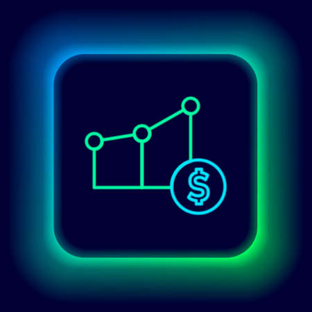 Glowing neon line chart infographic and dollar symbol icon isolated on black background. Diagram chart sign. Colorful outline concept. Vector