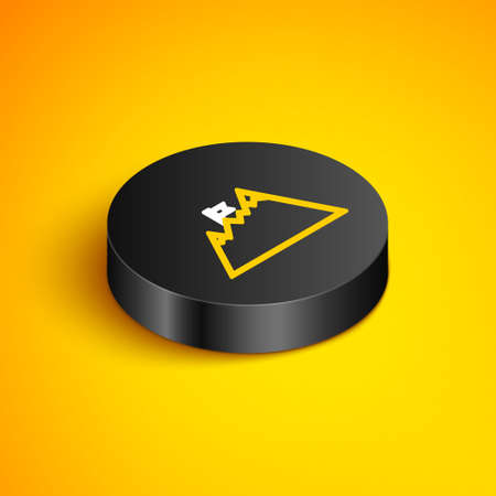 Isometric line Mountains with flag on top icon isolated on yellow background. Symbol of victory or success concept. Goal achievement. Black circle button. Vector Stock Illustratie