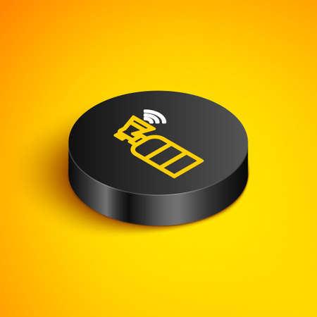 Isometric line Air horn icon isolated on yellow background. Sport fans or citizens against government and corruption. Black circle button. Vector