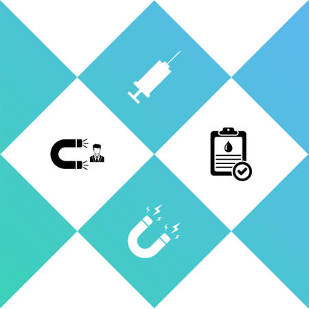 Set Customer attracting, Magnet with lightning, Syringe and Clipboard blood test icon. Vector