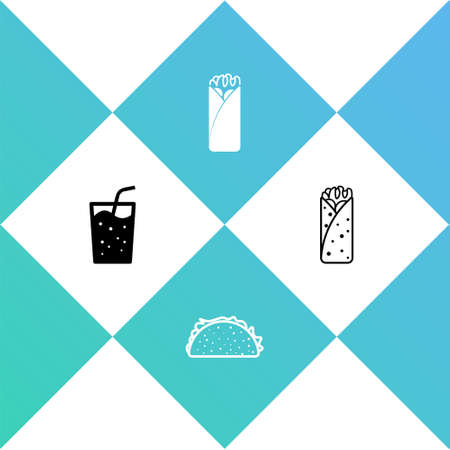 Set Glass with water, Taco tortilla, Burrito icon. Vector