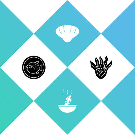 Set Puffer fish on a plate, Soup with octopus, Scallop sea shell and Seaweed icon. Vector