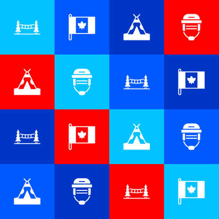 Set Capilano Suspension Bridge, Flag of Canada, Indian teepee or wigwam and Hockey helmet icon. Vector
