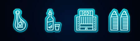Set line Bandura, Vodka with pepper glass, Hotel Ukraina building and Two towers Dnipro. Glowing neon icon. Vector