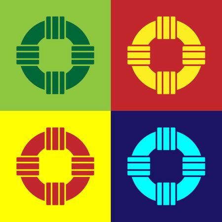 Pop art Lifebuoy icon isolated on color background. Lifebelt symbol. Vector.