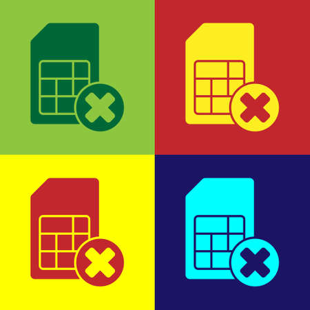 Pop art Sim card rejected icon isolated on color background. Mobile cellular phone sim card chip. Mobile telecommunications technology symbol. Vector