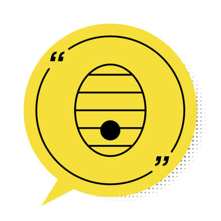 Black Hive for bees icon isolated on white background. Beehive symbol. Apiary and beekeeping. Sweet natural food. Yellow speech bubble symbol. Vector