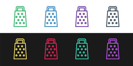 Set line Grater icon isolated on black and white background. Kitchen symbol. Cooking utensil. Cutlery sign. Vector