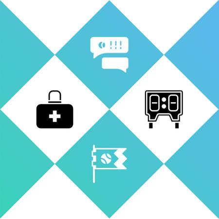 Set First aid kit, Flag with baseball ball, Speech bubble chat and Baseball mechanical scoreboard icon. Vector Vektoros illusztráció