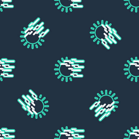 Line Fog and sun icon isolated seamless pattern on black background. Vector 向量圖像