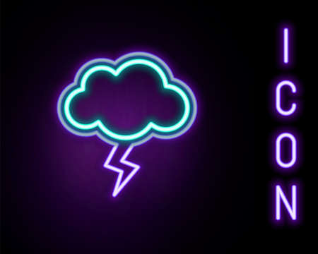 Glowing neon line Storm icon isolated on black background. Cloud and lightning sign. Weather icon of storm. Colorful outline concept. Vector