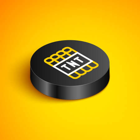 Isometric line Detonate dynamite bomb stick and timer clock icon isolated on yellow background. Time bomb - explosion danger concept. Black circle button. Vector